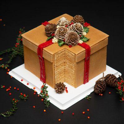 Honey and Buttercream Christmas Present Cake