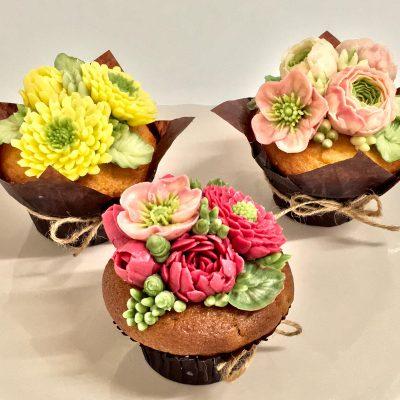 Korean Buttercream Flower Cupcakes