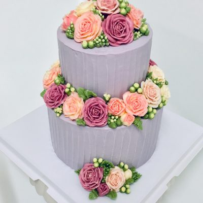 Two Tier Round Lavender Cake