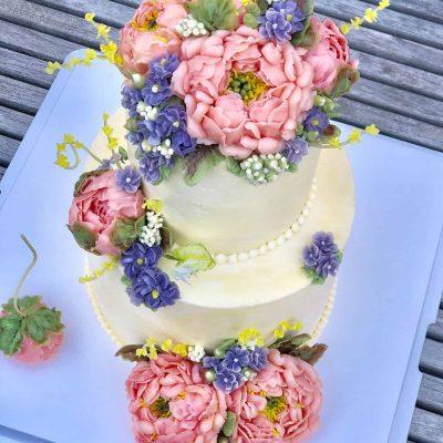 Peony Floral Buttercream Birthday Cake