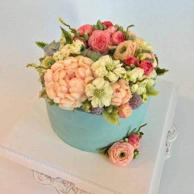 Twins Buttercream Flower Cake 1