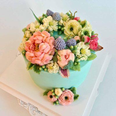 Twins Buttercream Flower Cake 2