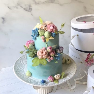 Blue Two-Tier Floral Cake